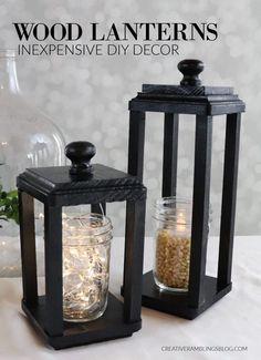 Learn how to build a wood lantern, an inexpensive DIY project to update your home. Use lanterns for weddings, centerpiece or holiday decor. # DIY Home Decor inexpensive How to Build a Simple Wood Lantern - Creative Ramblings