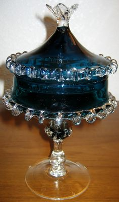 Vintage Cobalt Blue Blown Glass Lidded by METHODePROCURIOs on Etsy, $75.00
