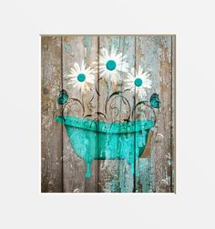 Teal Brown Farmhouse Bathroom Decor, Teal Daisy Flower, Butterflies, Country Rustic Bath Home Decor Matted Picture by LittlePiePhotoArt on Etsy https://www.etsy.com/listing/567866171/teal-brown-farmhouse-bathroom-decor-teal