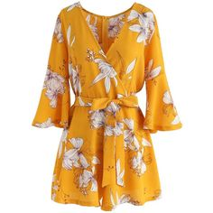 Chicwish Bold Blooms Floral Wrapped Playsuit in Yellow (€32) ❤ liked on Polyvore featuring jumpsuits, rompers, jumpsuit, playsuits, yellow, wrap rompers, wrap romper, floral rompers, flower print romper and yellow romper