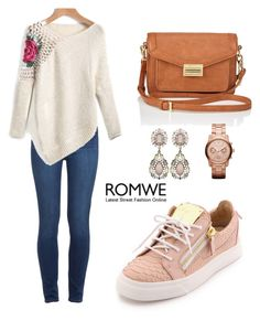 """ROMWE Sweater"" by tania-alves ❤ liked on Polyvore featuring Paige Denim, Lipsy, Michael Kors and Giuseppe Zanotti"