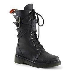 Demonia Rage 307 Product Information  Lace-up combat boots with wrap-around straps and buckles. These 10 eyelet boots feature a stitched toe and side zipper.  :: Rage 307 Details ::  Material : Synthetic Upper (Vegan)  Brand : Demonia  $79.99