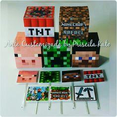 Festa Minecraft do Rafael! Caixinha cubo 5x5cm e toppers quadrados  3,5cm Orçamento por email : artepriscilakato@gmail.com