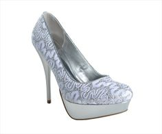 Heel Height: 5 inches Platform Height: 1 1/2 inches Material: Synthetic Details: Decorate your feet with these platform pumps. Featuring a lace and glitter upper sitting atop a metallic platform. lightly padded footsole is there to keep your feet comfortable. Brand: Allure Bridals, Inc. Type: Pumps Color: Silver Age Group: Adult Gender: Female Condition: New Color Mapping: Silver Size: 6