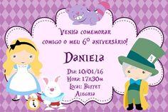 Convite digital personalizado Alice no país das maravilhas 005