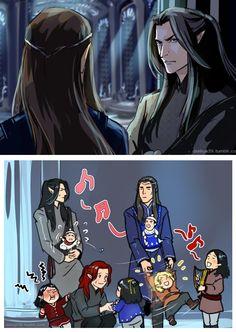 Fëanor and Fingolfin babysitting their children