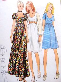 1970s Empire Waist Dress or Maxi Gown Pattern BUTTERICK 6175 Low U Neckline 3 Sleeve Styles Very Hammer Movie Style Bust 33 Vintage Sewing Pattern