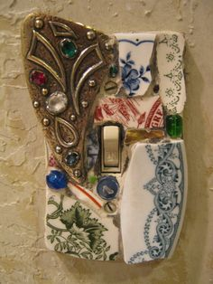 Mosaic Single Switch Plate Switchplate in Red Blue and Green with Vintage Brooch…