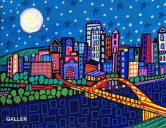 50% Off - Pittsburgh Art Poster Print Painting by Heather Galler City Cityscape Bridge PA Skyline