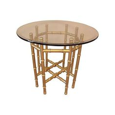 Image of Glass and Gilt Faux Bamboo Table