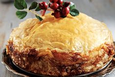 Ioanna's Notebook - New Year's Pie - Traditional Greek chicken pie recipe Greek Recipes, Pie Recipes, Cooking Recipes, Recipies, Pita, Salty Foods, Greek Chicken, Christmas Cooking, Food Categories