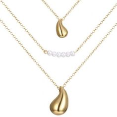 Prezzi e Sconti: #Graceful faux pearl multilayered water drop Instock  ad Euro 2.16 in #Golden #Fashion jewelry necklaces
