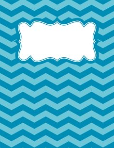 Free printable blue and green chevron binder cover template. JPG and PDF versions available. Chevron Binder Covers, Binder Covers Free, Binder Cover Templates, Printable Labels, Printable Planner, Printables, Free Printable, Printable Calendars, College Notebook