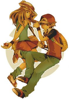 Red and Leaf are my favorites Pokemon Firered, Pokemon Ships, Cool Pokemon, Pokemon Stuff, Female Trainers, Right In The Childhood, Pokemon Special, Cute Anime Pics, Pokemon Pictures