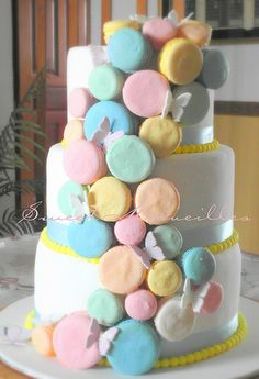 Sweet About Rainbow Macaron Wedding Cake