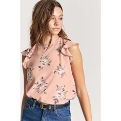 Forever21 Semi-Sheer Floral Top ($16) ❤ liked on Polyvore featuring tops, multi color tops, butterfly top, floral tops, sleeve top and butterfly sleeve top