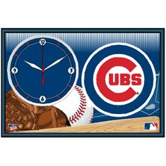 Chicago Cubs Framed Clock | #Chicago #Illinois #Cubs #ChicagoCubs #Memorabilia #Sports #Merchandise #Baseball #MLB | Order Today At www.sportsnutemporium For Only $29.25 Chicgo Cubs, Cubs Fan, Chicago Illinois, Chicago Cubs Logo, Cub Sport, Sports Merchandise, Ml B, Dorm Room, Game Room