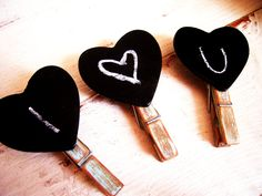 Chalkboard Clothespins Heart Decorative Clothespins Blue and Brown Clothes Pin Shabby Cottage Chic Distressed Wood Altered Painted Clip. $11.00, via Etsy.