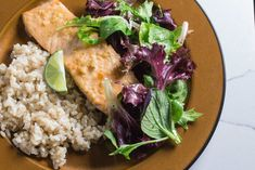 Monash University Certified Low FODMAP miso lime glazed salmon served alongside a salad and brown rice