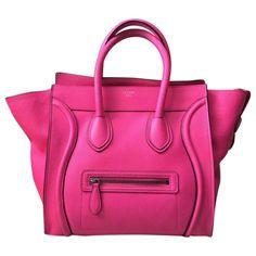 Pink Leather Nano Luggage Tote from Vintage Designer Carryalls Feat. Celine on Gilt Celine Handbags, Celine Bag, Leather Handbags, Leather Bags, Satchel Handbags, Celine Micro Luggage, Leather Luggage, Pink Leather, Suede Leather