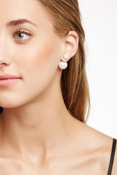Chic In Gold Double Sided Pearl Earrings Statement Jewelry
