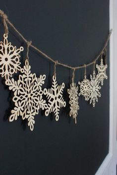 Beautiful wood snowflake garland