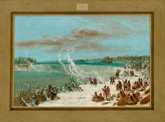 """""""Portage Around the Falls of Niagara at Table Rock,"""" George Catlin, 1847/1848, oil on canvas, 14 7/8 x 22 1/8"""", National Gallery of Art."""