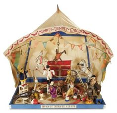 """The Well-Bred Doll: 205 Wonderful American """"Humpty Dumpty Circus"""" by Schoenhut with Acrobat-Style Tent"""