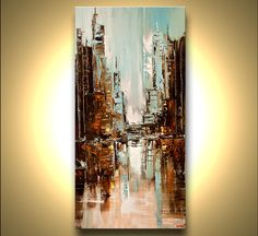ORIGINAL City Painting Modern Acrylic Palette by OsnatFineArt, $600.00