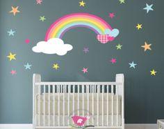Nursery Decor Rainbow Wall decal with by EnchantedInteriorsUK