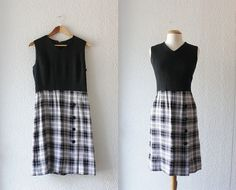 1960s Wool Blend Black and Plaid Jumper // Size by SchoolofVintage, $42.00