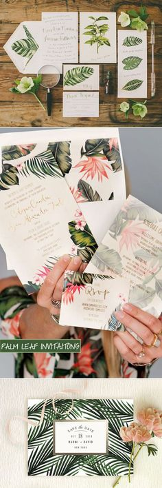 palm leaves tropical invitaions trends for 2016 weddings