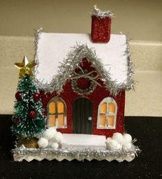 Risultati immagini per christmas putz house Diy Christmas Ornaments, Christmas Home, Vintage Christmas, Diy And Crafts, Christmas Crafts, Christmas Decorations, Paper Crafts, Holiday Decor, Christmas Glitter