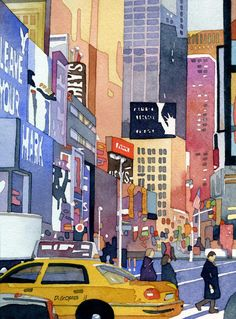 https://flic.kr/p/aNKJkv | new york state of mind | watercolor of an early morning scene in times square. arches 140 lb. CP