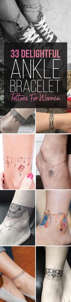 33 Delightful Ankle Bracelet Tattoos for Women