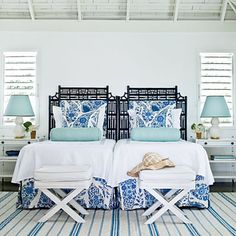 Coastal guest room. Blue, white, turquoise bedroom, twin beds, coastal interior