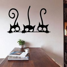 Neoteric Cat Wall Decor D I Y Three Sticker Removable Living Room Art Vinyl Image Loading Decorative Hook Head Silhouette Shelf Tail Tile Picture Nursery Simple Wall Paintings, Creative Wall Painting, Wall Painting Decor, Room Wall Decor, Diy Wall Art, Diy Wall Decor, Room Art, Wall Painting Living Room, Diy Wand