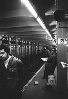 People on the platform of Times Square subway station mid 1970s, by Leland Bobbe #NewYork #NewYorkCity