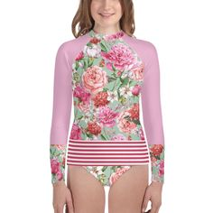 Girls Tween Swimwear, UPF 40 Rash Guard 'Floral Shabby Roses'  #swim #swimsuitssporty #TweenFashion #TeenFashion #kids #resort Tween Fashion, Girl Fashion, Fashion Show, Outfits For Teens, Cool Outfits, Tween Girls, Rash Guard, Our Girl, Cool Style