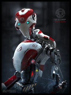 Robot/Drone Concept. ZBrush sculpt rendered in KeyShot and Photoshop (final comp, basic KS render, previous ZBrush BPR + Photoshop version). I rendered out a couple of additional materials in KeyShot for the comp: the red paint material and a couple of metal passes for small details.