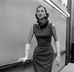 1950 couture pencil dress with white gloves -Balanciaga