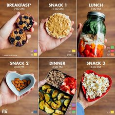 Quick and Simple 21 Day Fix Meal Prep for the 1,200-1,499 Calorie Level / Breakfast: Baked Oatmeal Cups with Blueberries with 2 hard-boiled eggs or ¾ cup plain lowfat Greek yogurt (Not shown) (½ purple, 1 red, 1 yellow) Snack 1: Whole grain rice cake with 2 tsp. peanut butter (½ yellow, 2 tsp.) Lunch: Mason jar salad with 2 Tbsp. vinegar-based dressing, 1 cup cherry tomatoes, ½ cup bell peppers, ¼ cup onion, ¾ cup cooked chicken breast (about 4 oz.), ¾ cup baby spinach (2 green, 1 red, 1…