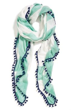 Halogen 'Wayward Stripe' Scarf from Nordstrom. Shop more products from Nordstrom on Wanelo. Mode Style, Style Me, Pompom Scarf, Cute Scarfs, Look Fashion, Womens Fashion, Fashion Trends, Striped Scarves, Summer Scarves