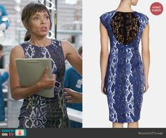 Camille's blue snake print dress with lace back on Bones.  Outfit Details: http://wornontv.net/48313/ #Bones