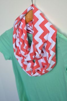Infinity Scarf in Coral Chevron by DaisyFayeDesigns on Etsy, $20.00