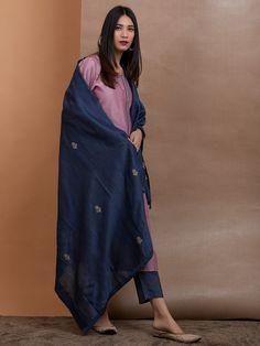 Pink Chanderi Silk Kurta with Slip, Navy Blue Cotton Silk Pants and Embroidered Dupatta - Set of 3 Simple Kurti Designs, Kurta Designs Women, Blouse Designs, Churidhar Designs, Ethnic Outfits, Indian Outfits, Indian Attire, Indian Dresses, Pink Suits Women