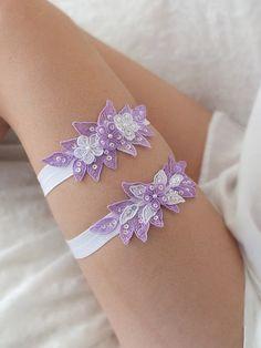 free ship lilac floral garter set bridal garter by ByMiracleBridal