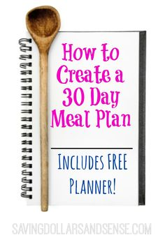 This FREE 30 Day Meal Planner will make planning and grocery shopping SO much easier!! #savingdollars