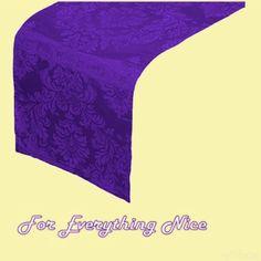 Deep Purple Damask Flocking Taffeta Wedding Table Runners Decorations x 5 For Hire by JRMB7339 - $30.00