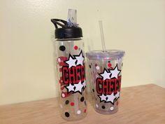 Personalized Clear plastic sport water bottle Flip by DeLaDesign